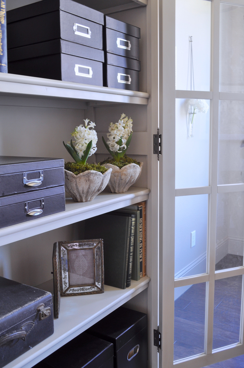 Beautiful Home Office with Restoration Hardware Bookcase Cabinet