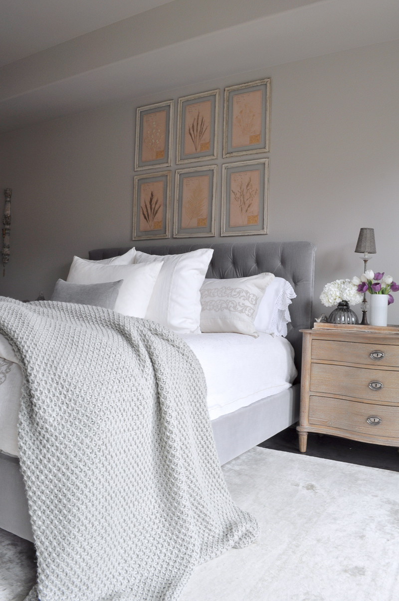 master bedroom refresh and restyle decor gold designs 15995 | bedroom bed with tufted headboard linen bedding restoration hardware furniture and gray throw