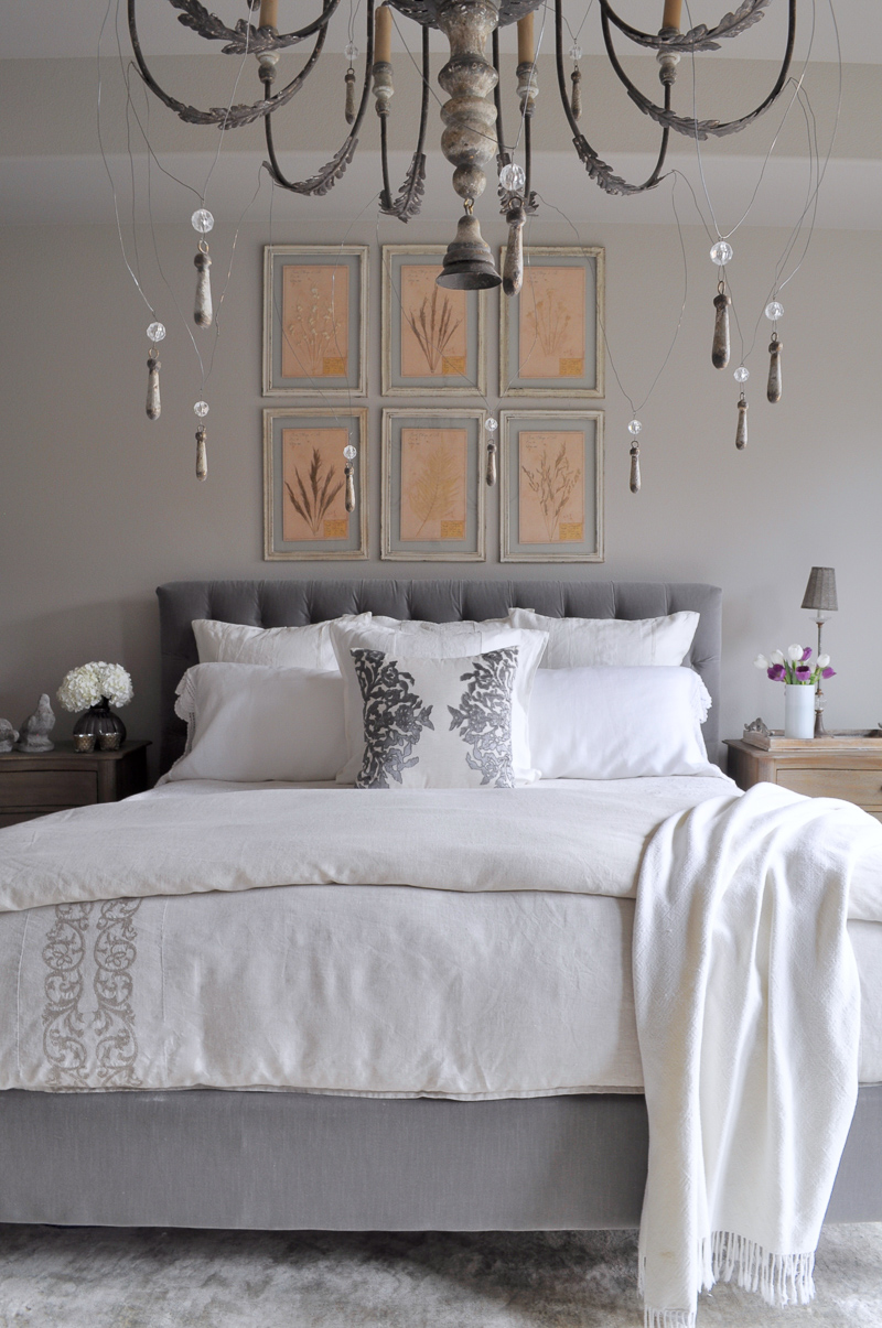 Restoration hardware bedroom - Bedroom Furniture Restoration Hardware Gray Tufted Headboard Wit