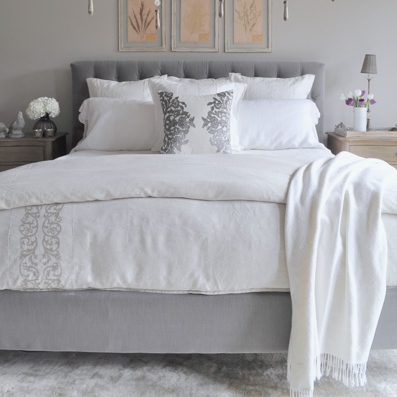 Bedroom Gray Tufted Headboard, White Throw Blanket, Linen Bedding