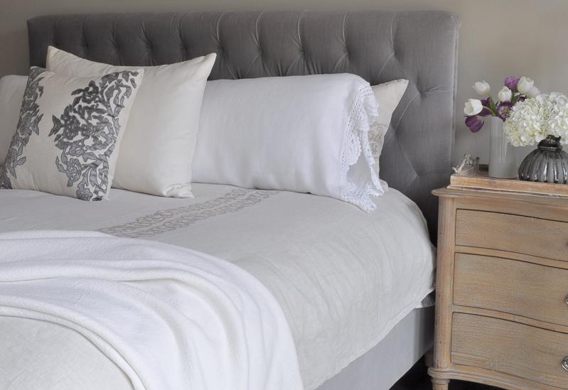 Bedroom Restoration Hardware Bed and Bedside Table, Tufted Headb
