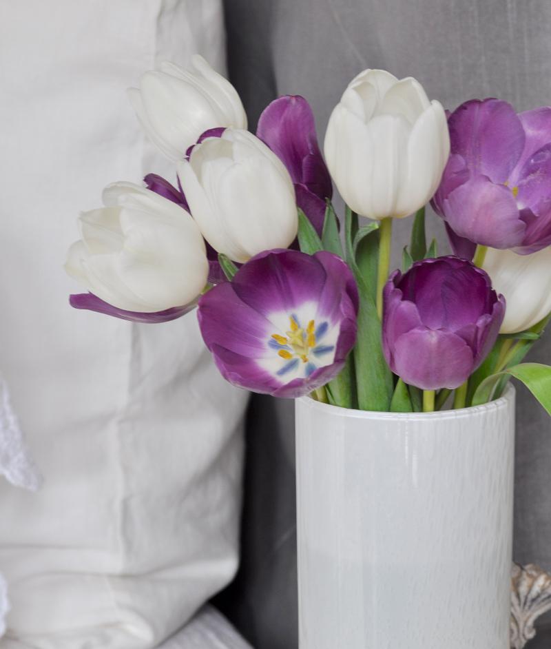 Bedroom Tulips Gray Bed White Linen Bedding Pillow Sham
