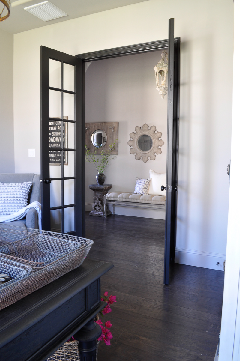 Black French Doors, Beautiful Mirror Collection, Bench and Light