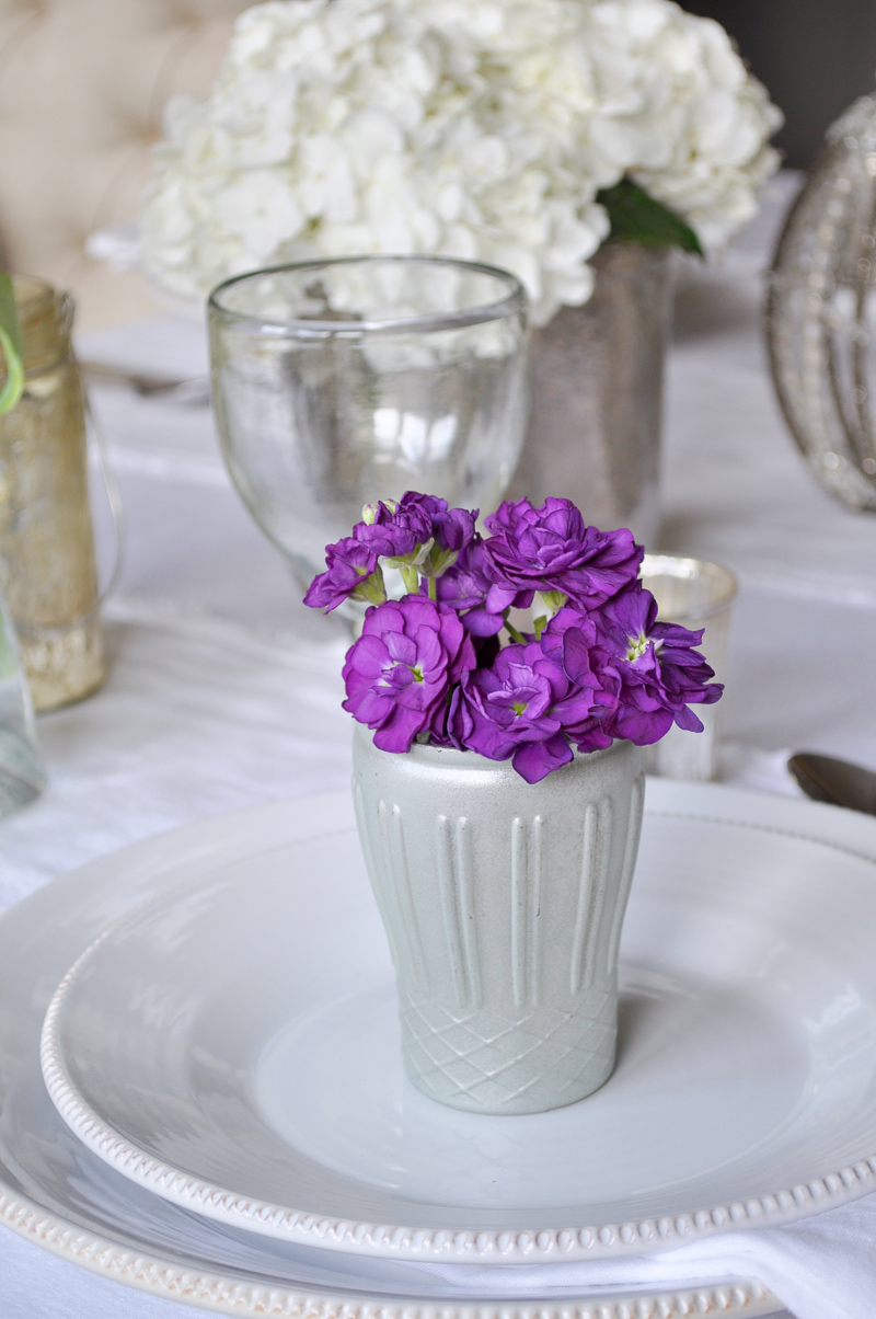 Easter Place Setting Tablescape with Flowers Dining Room