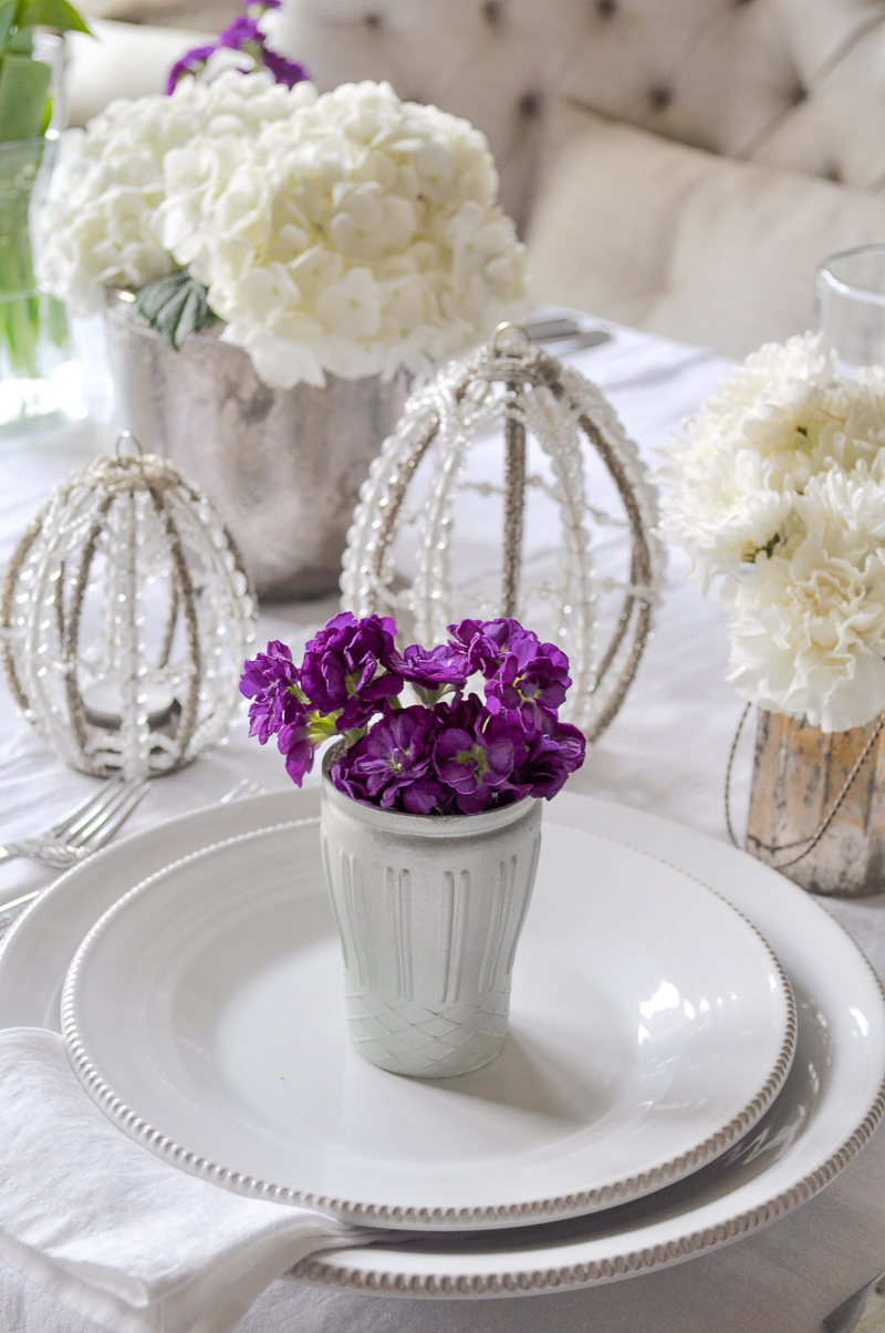 Easter Place Setting with Flowers Tablescape Dining Room White L