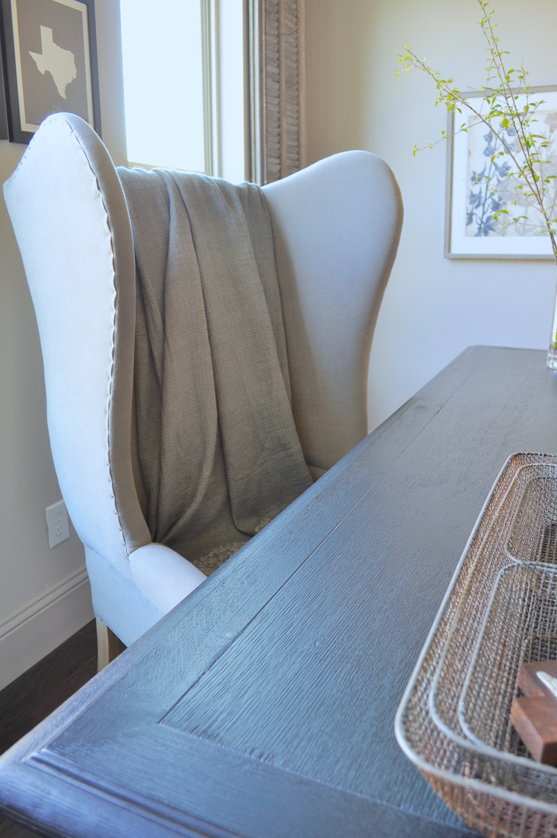 Gray Linen Wingback Chair in Study Home Office