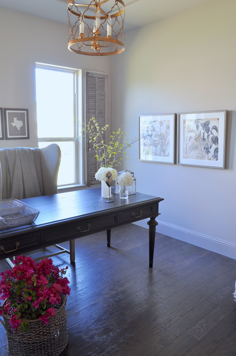... Home Office With Black Desk And Vintage Gray Interior Shutters