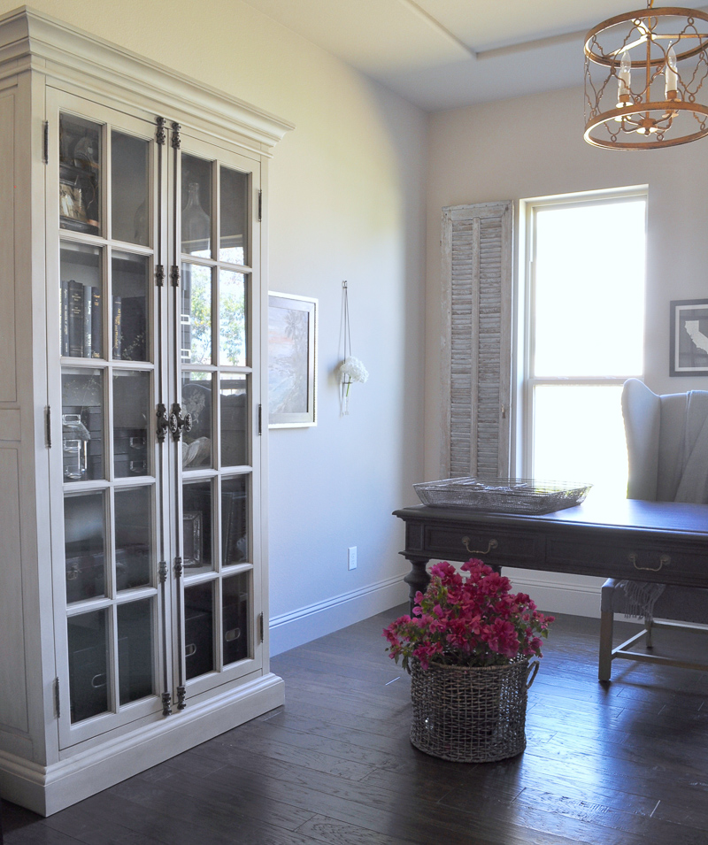 Home Office with Taupe Painted Beautiful Details on Restoration