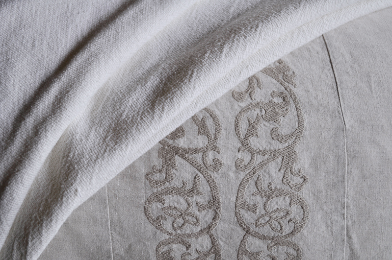 Linen Bedding Details, Pom Pom at Home Bedding, Embroidered Desi