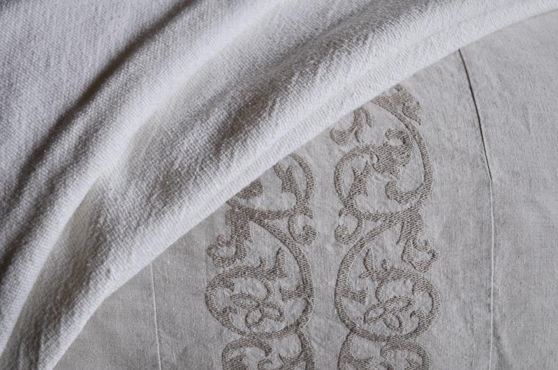 Linen Bedding Details, Pom Pom at Home Bedding, Embroidered Desi