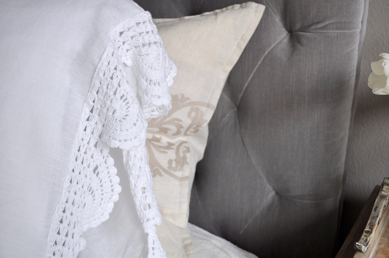 Pillow Case Detail, Crochet Edge, White Linen