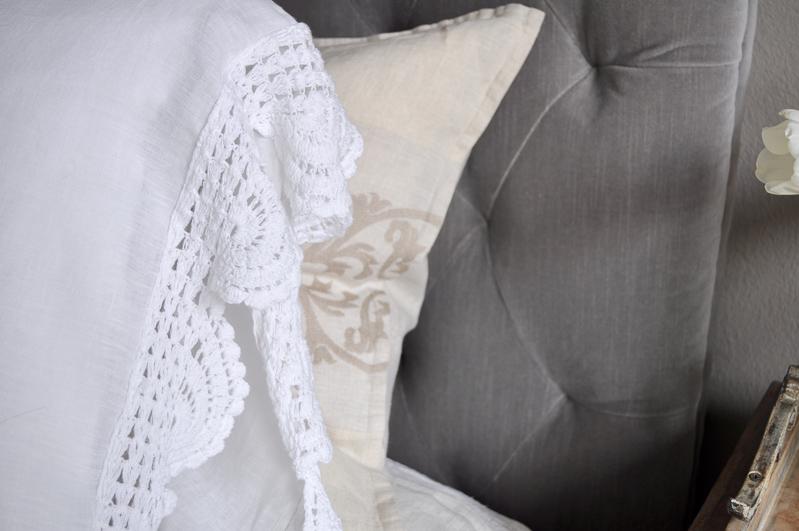 Pillow Case Detail, Crochet Edge, White Linen
