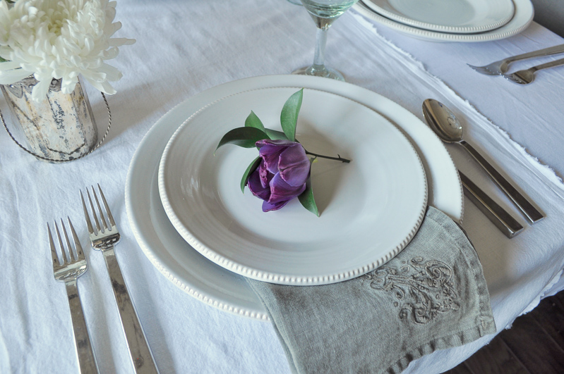 Place Setting with Flower Tablescape Dining Room Gray Linen Napk