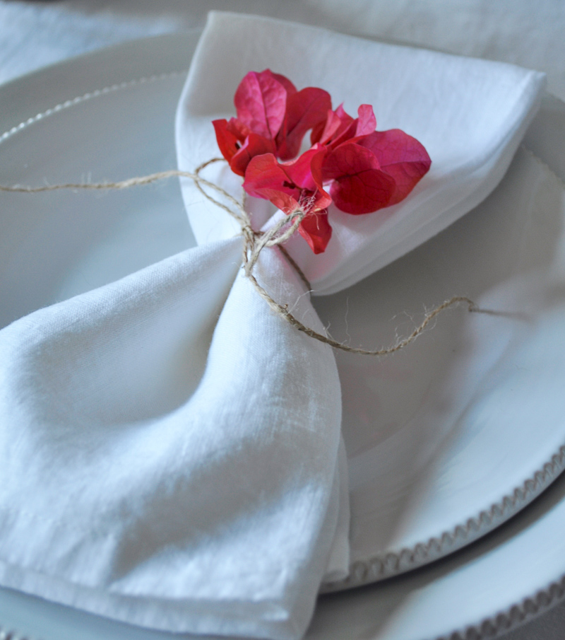 Place Setting with Flowers Tablescape Bougainvillea White Linen