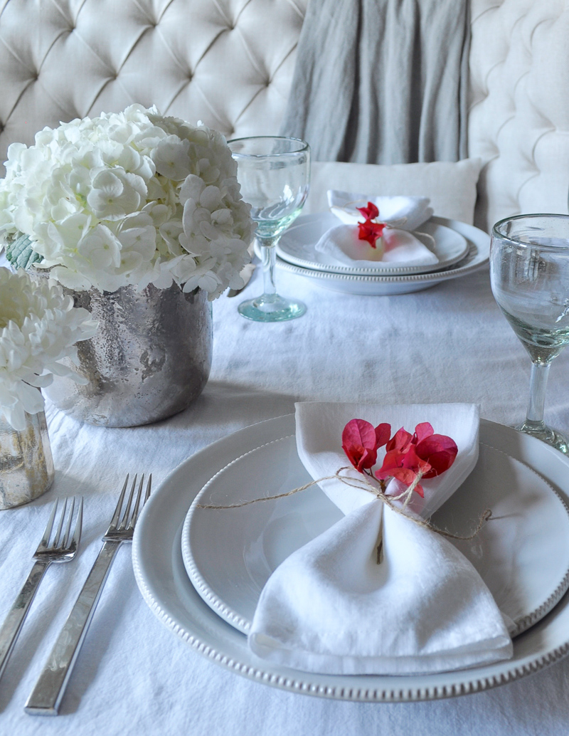 Place Setting with Flowers Tablescape Dining Room
