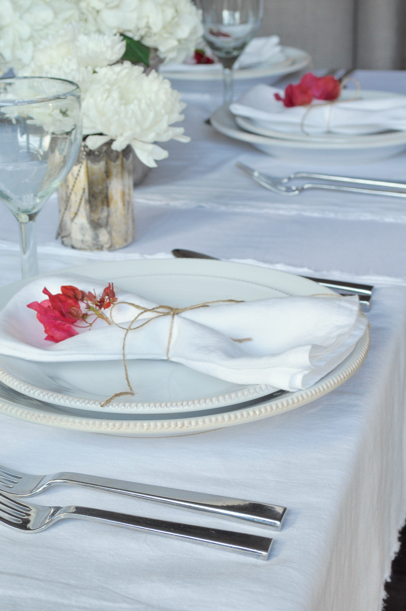Place Setting with Flowers Tablescape Dining Room Bougainvillea