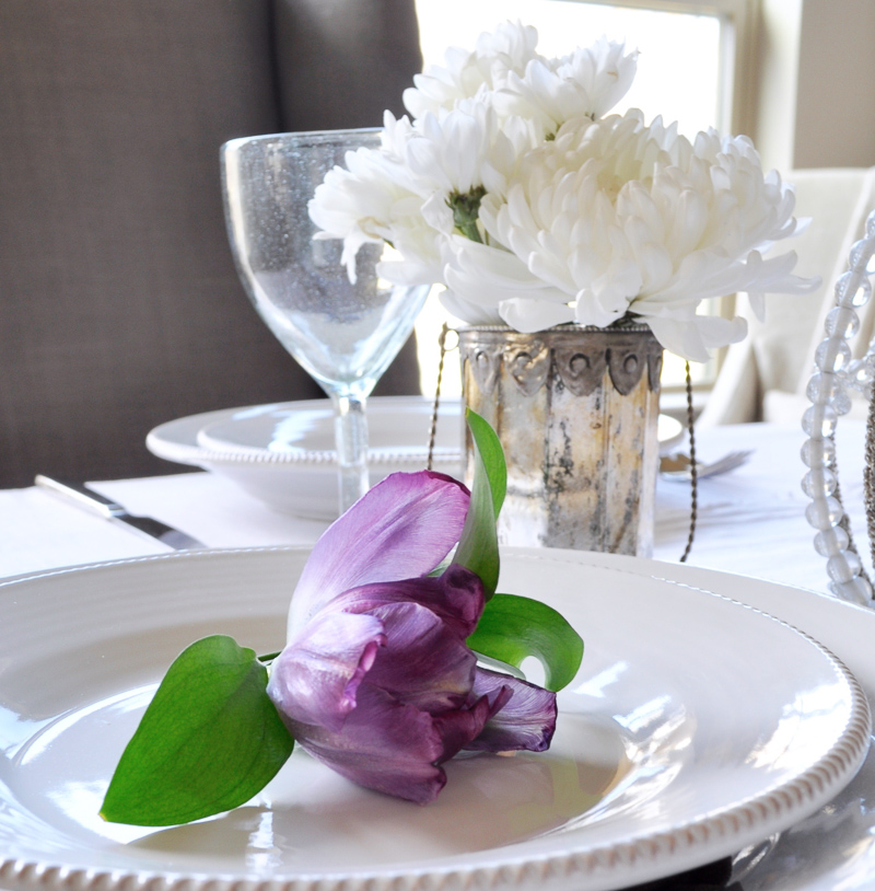 Place Setting with Flowers Tablescape Dining Room White and Purp