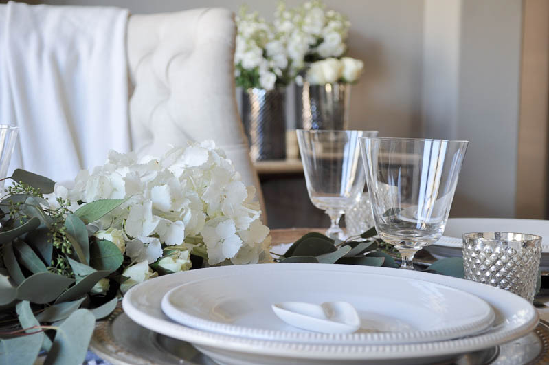 White Dishes in a Valentine's Day Table Setting