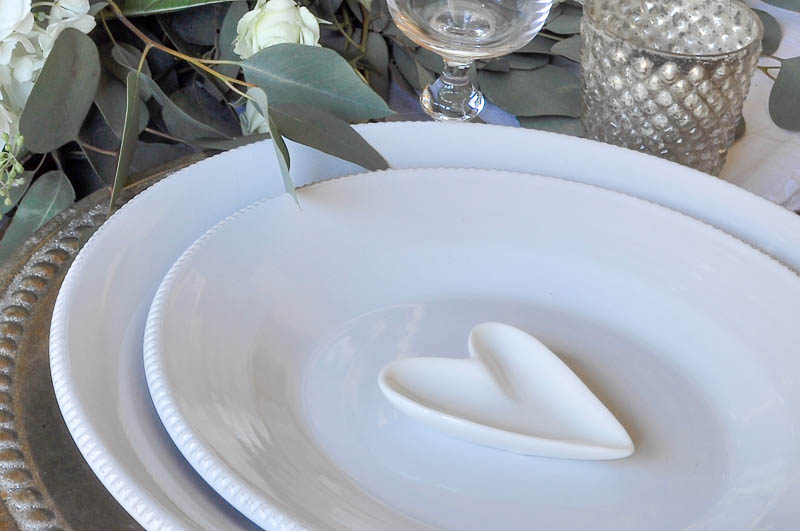 White Dishes with Silver Votive and Charger