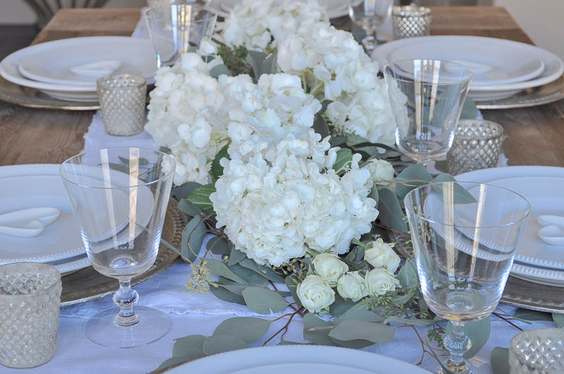 White Place Setting with Floral Runner