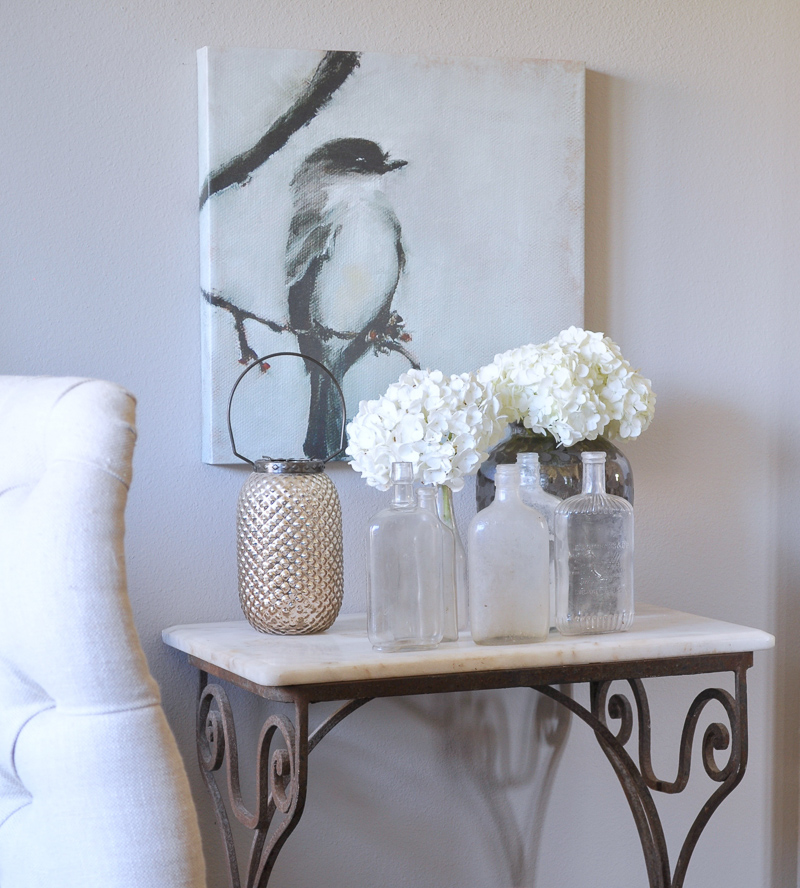 Beautiful Spring Decorating in Dining Room Bird Painting Vintage