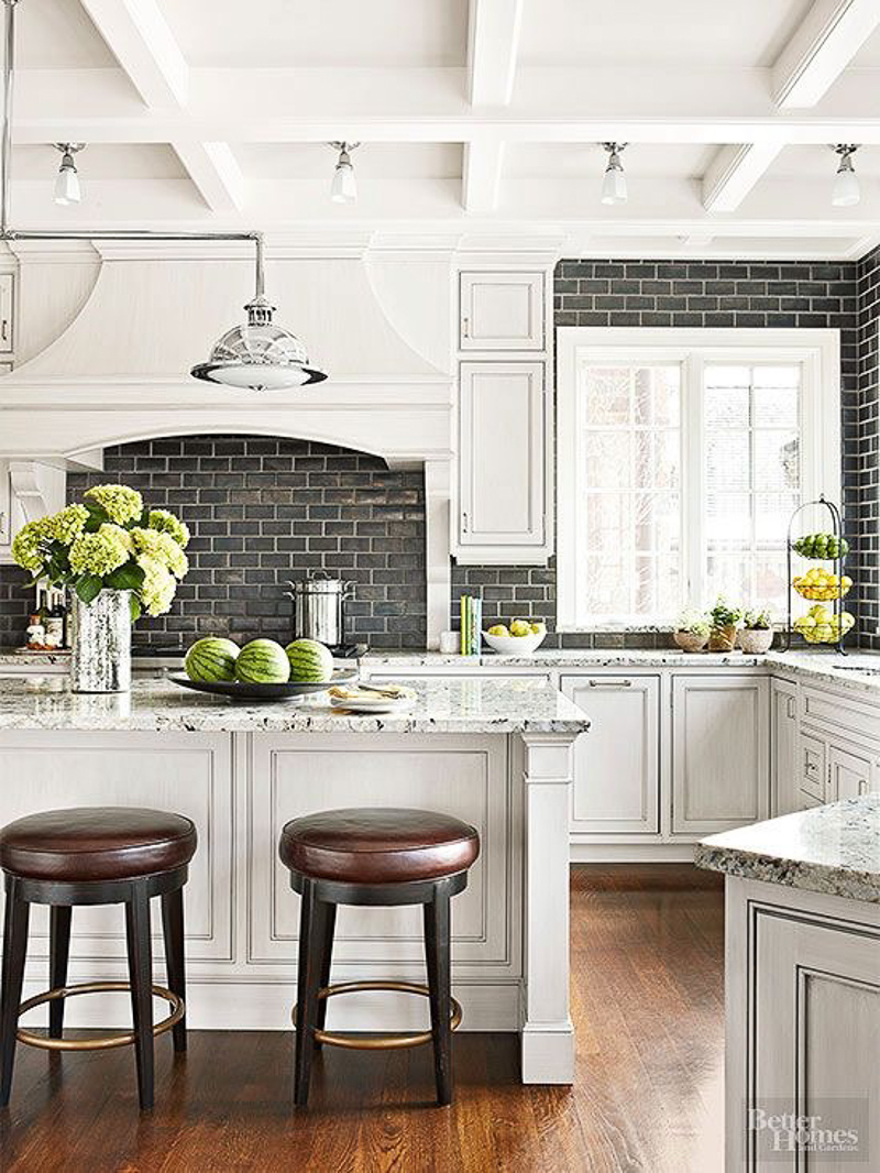 Black small kitchen tiles Kitchen ideas with black and white tiles