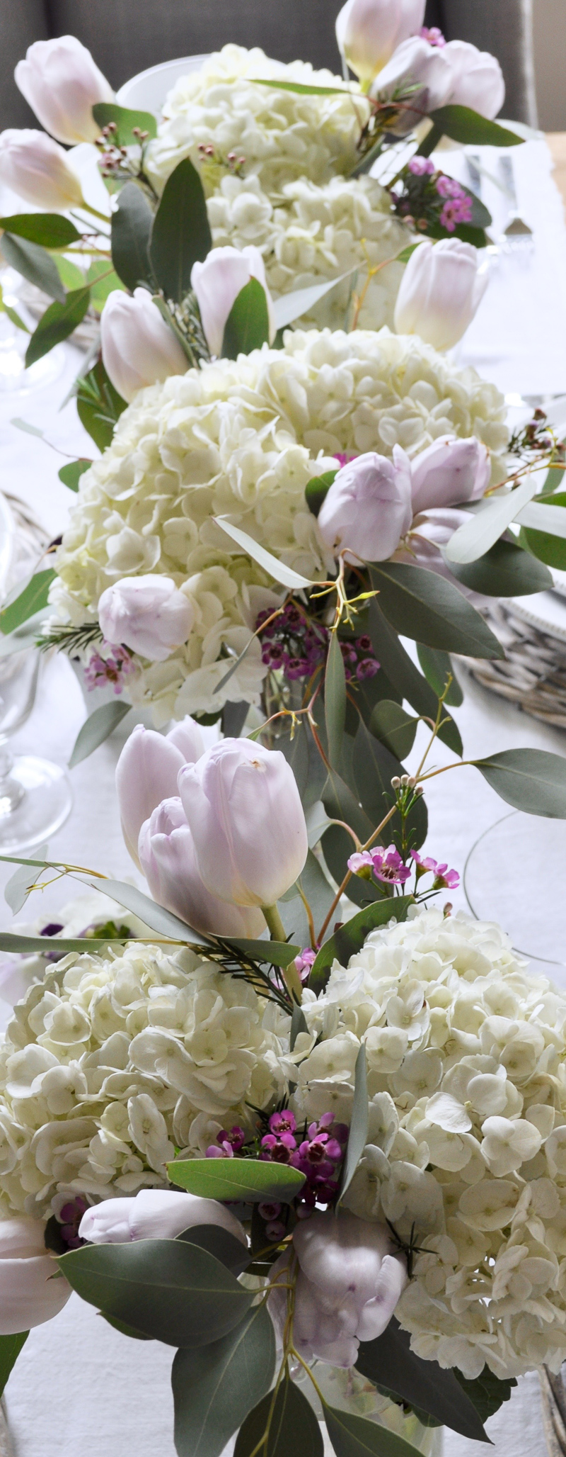 Easter Centerpiece with Tulips Hydrangeas and Eucalyptus