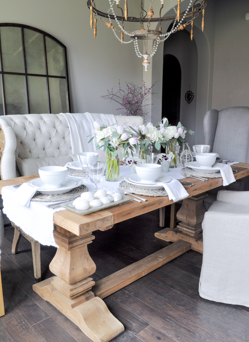 Easter Easter Table Decor With White Hydrangeas And Tulips Cente