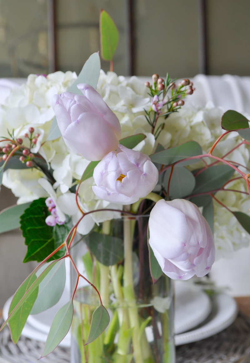 Easter Table Decor with White Hydrangeas and Tulips Centerpiece