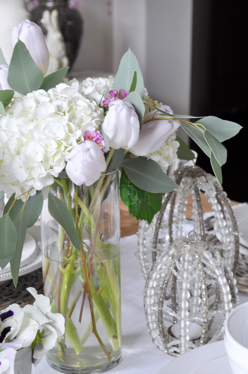 Easter Table Decor with White Hydrangeas and Tulips Pottery Barn