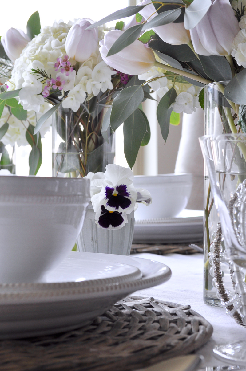 Easter Table Decor with White Hydrangeas Tulips Dinnerware