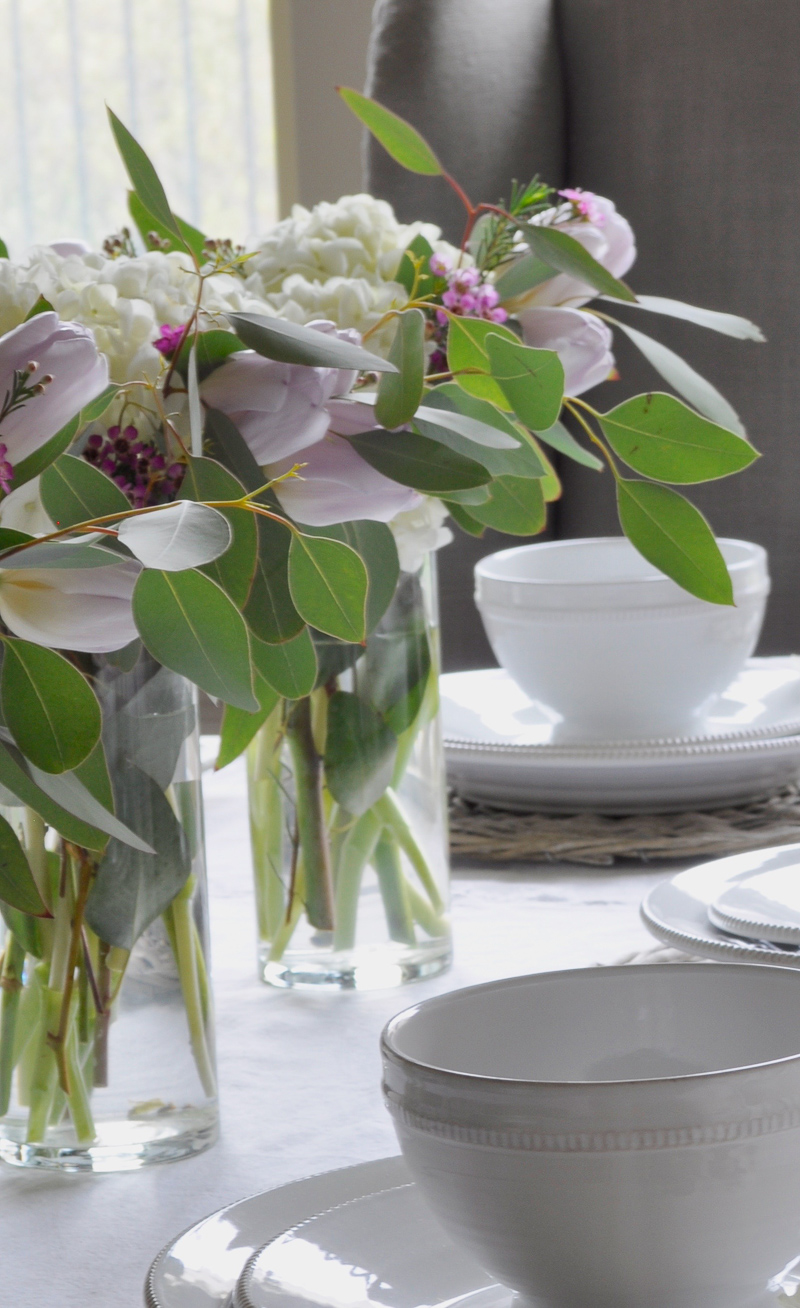 Easter Table Decorating for Easter with White Hydrangeas and Tul