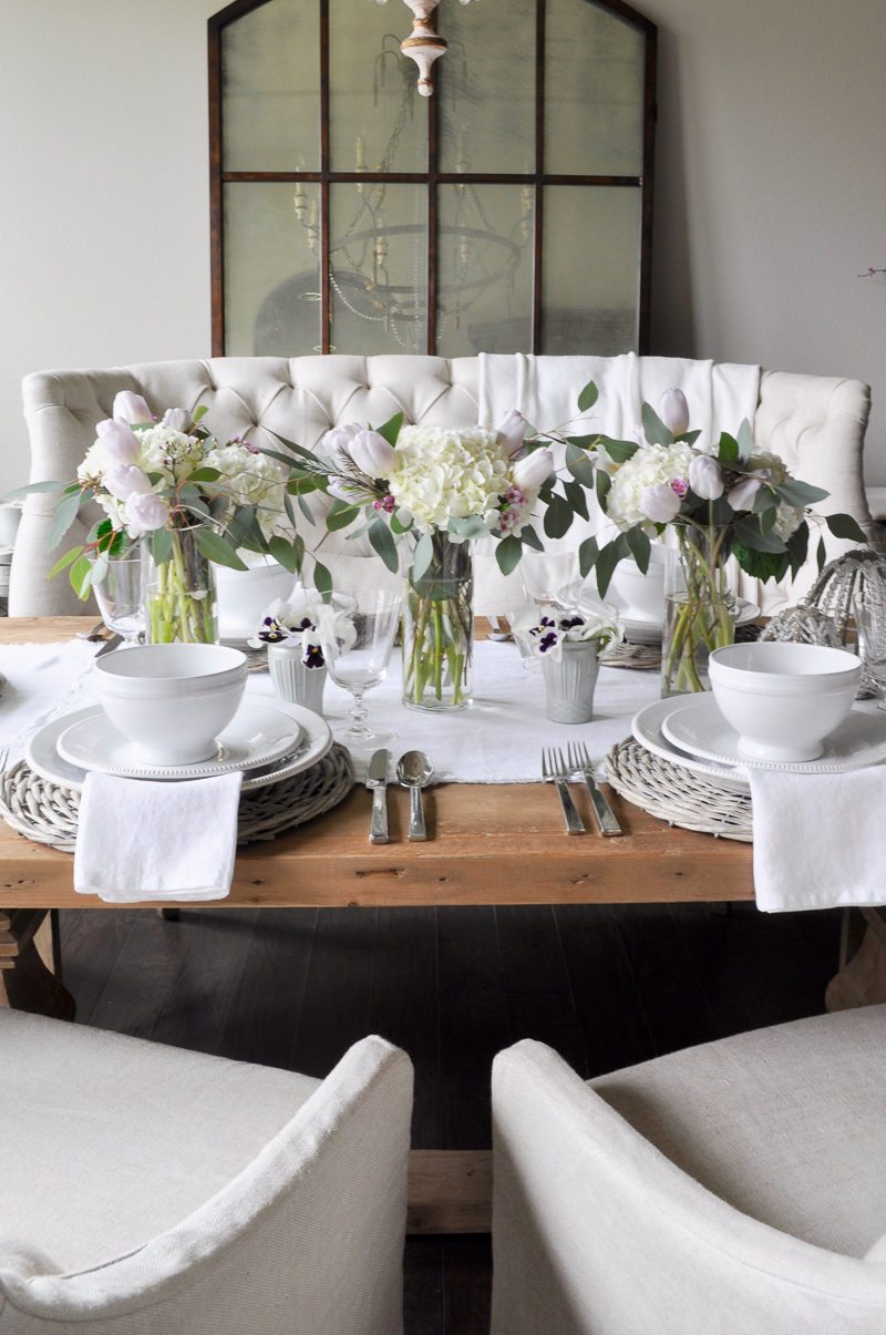 Easter Tablescape Decor with White Hydrangeas and Tulips