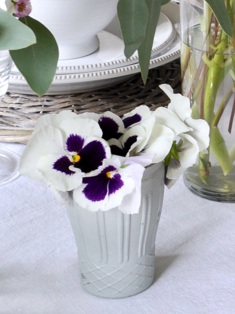 Easter Tablescape with Pansies in a Votive