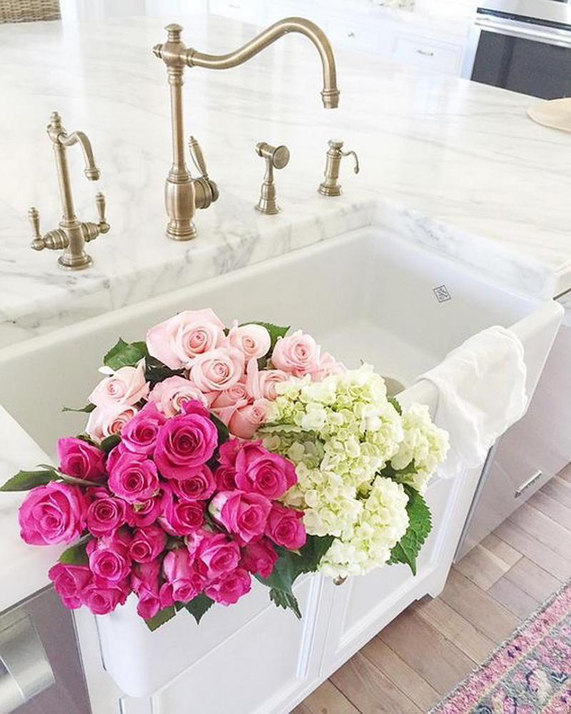 Gorgeous Kitchen Marble Countertops Brass Faucet