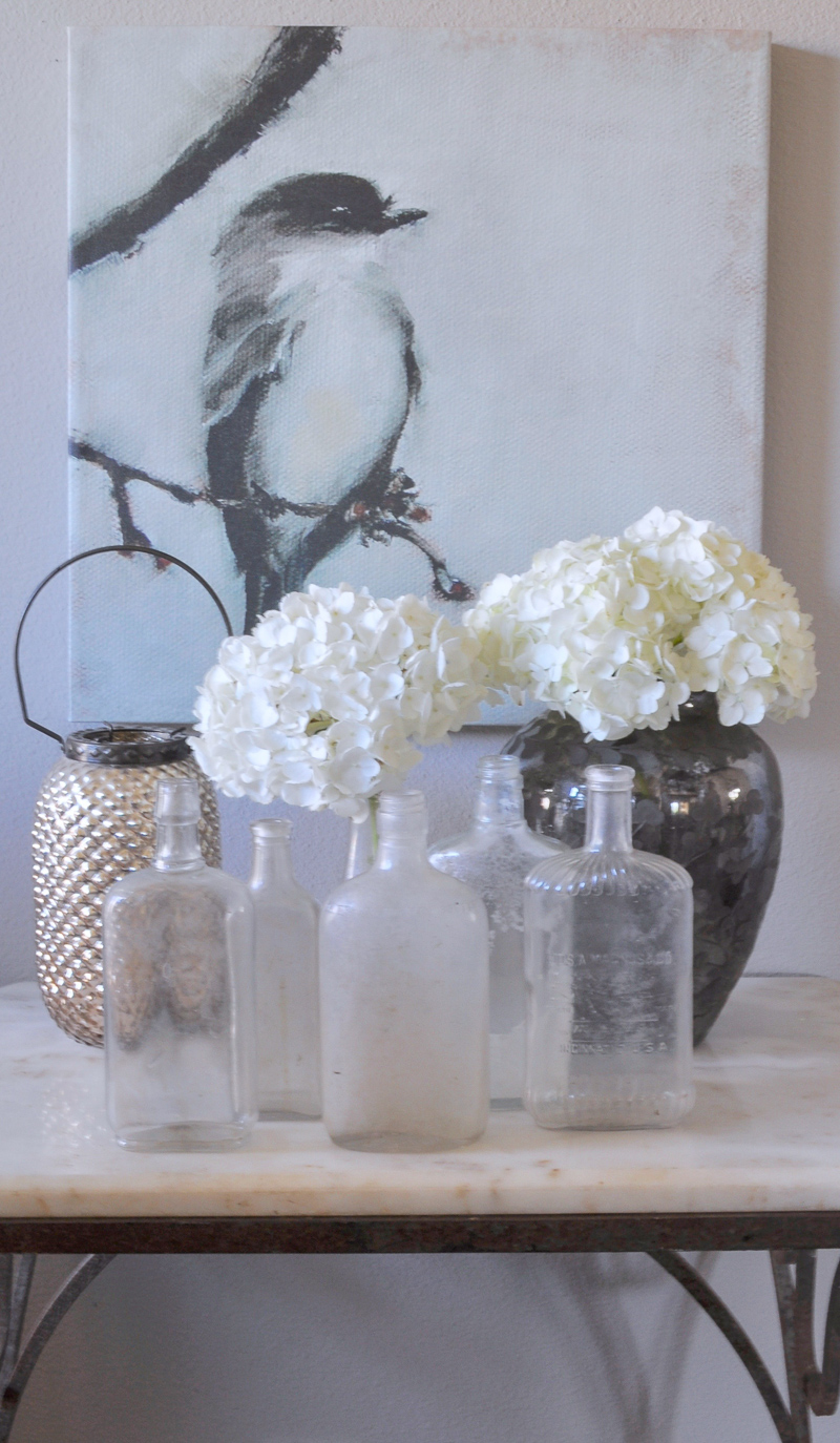 Spring Decorating Bird Painting Vintage Bottles Hydrangeas Vigne