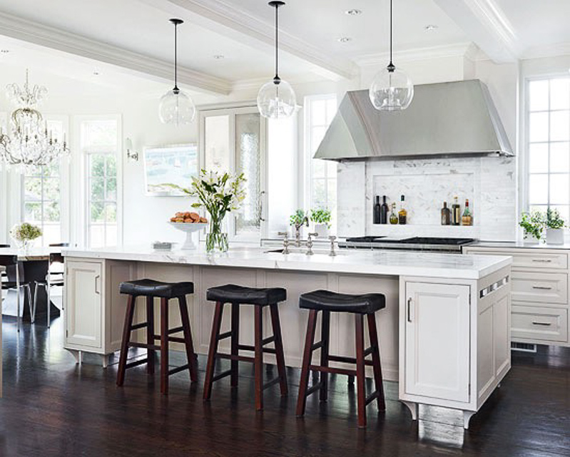 The white kitchen is here to stay decor gold designs for Over island light fixtures