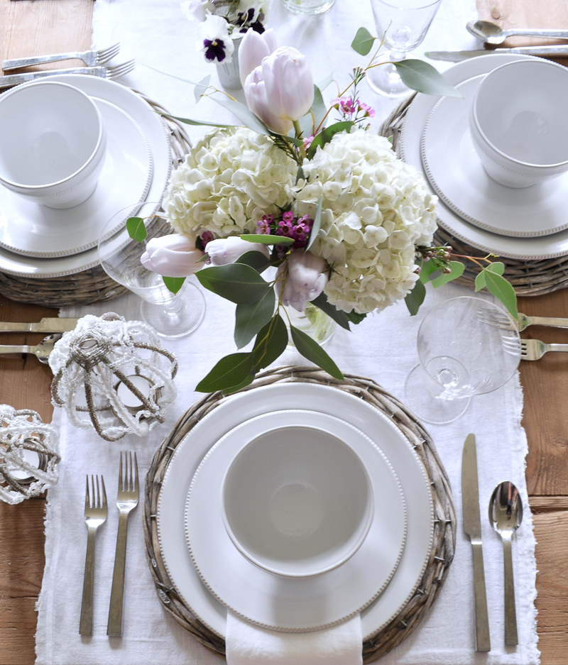 White Easter Table with White Dinnerware, Flowers and Linen Runn