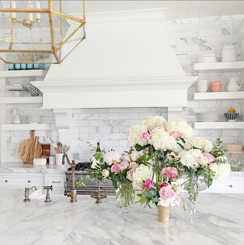 White Kitchen Gold Light Fixture Brass Faucet Marble Countertops