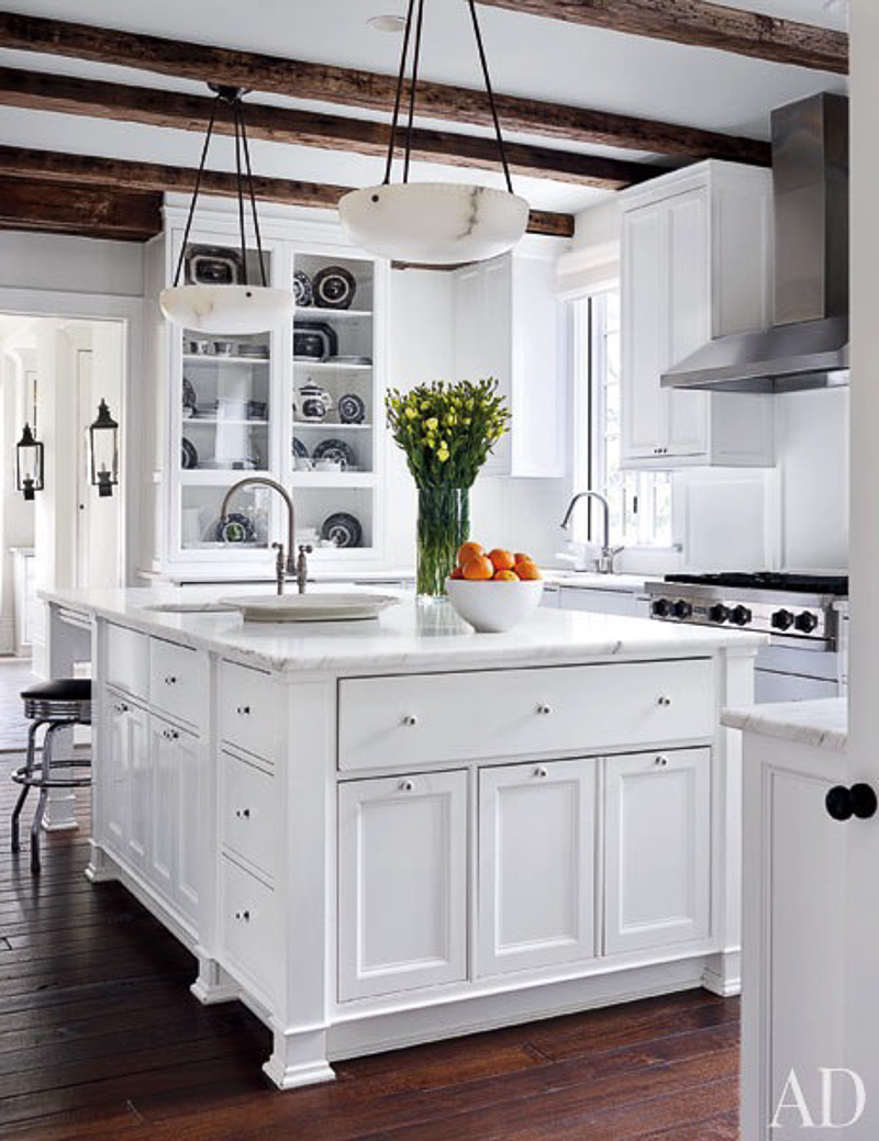 White Kitchen Reclaimed Wood Beams Stainless Vent Hood Hardwood
