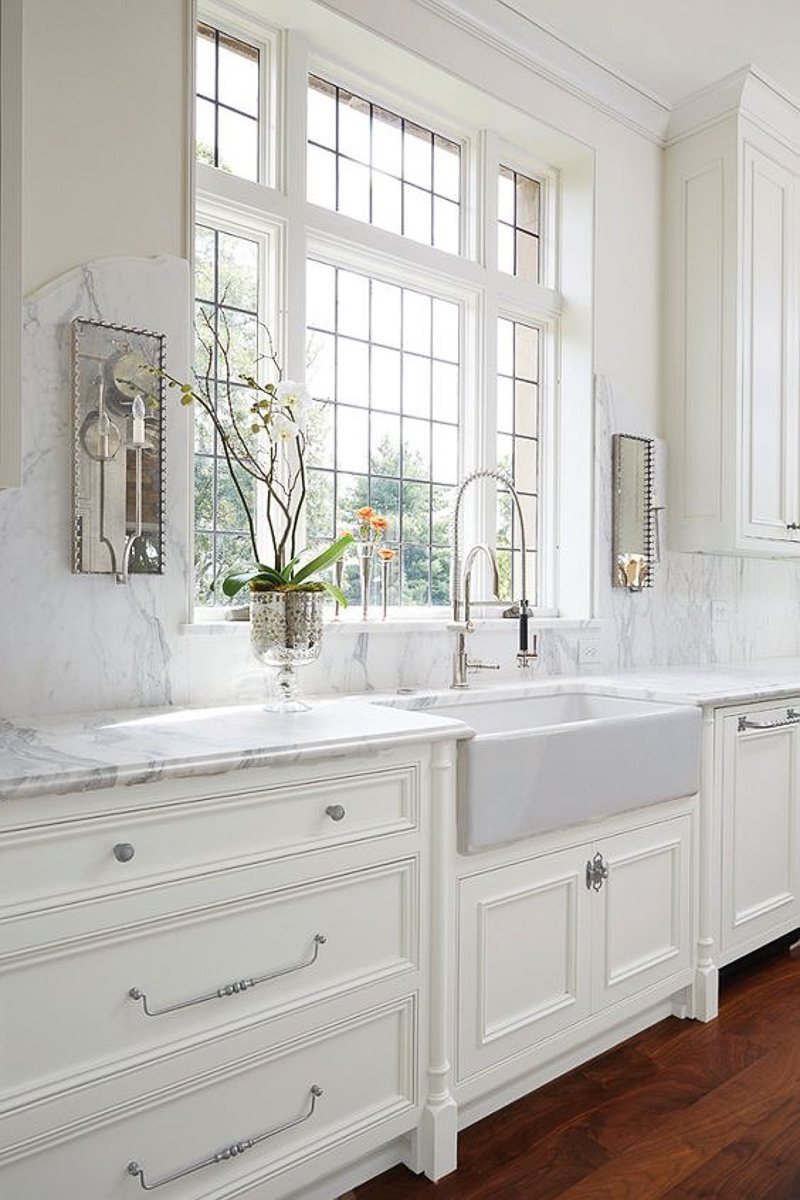 White Kitchen with Marble and Farm Sink