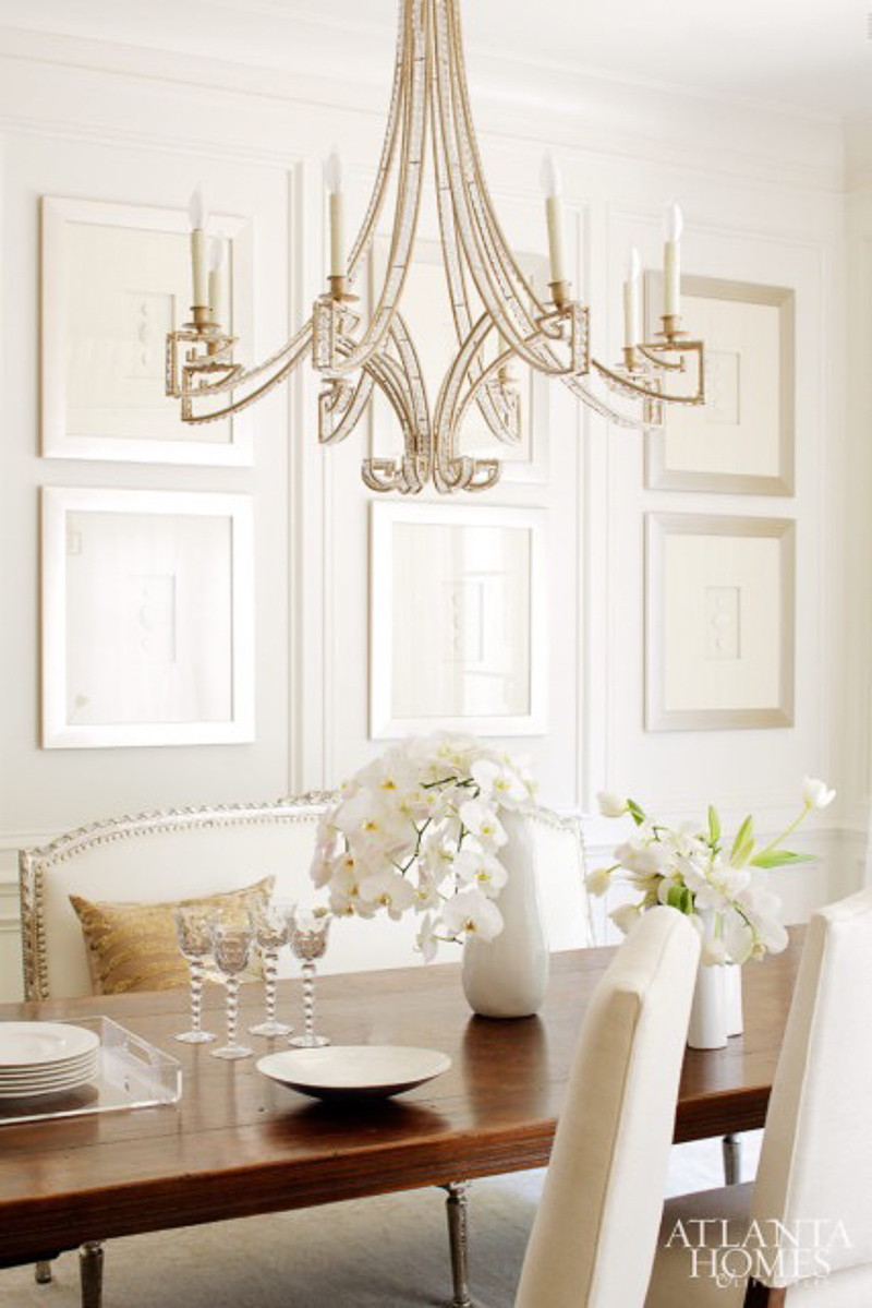 Bench in Formal Dining Room Beautiful White