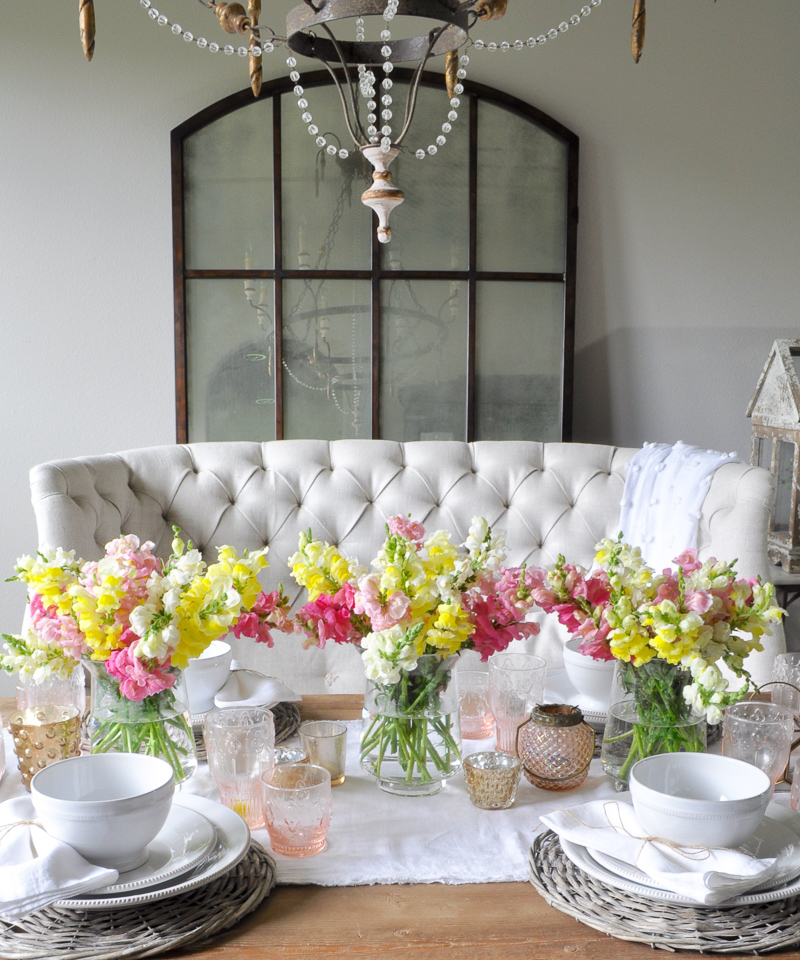White Dining Room with Spring Flowers