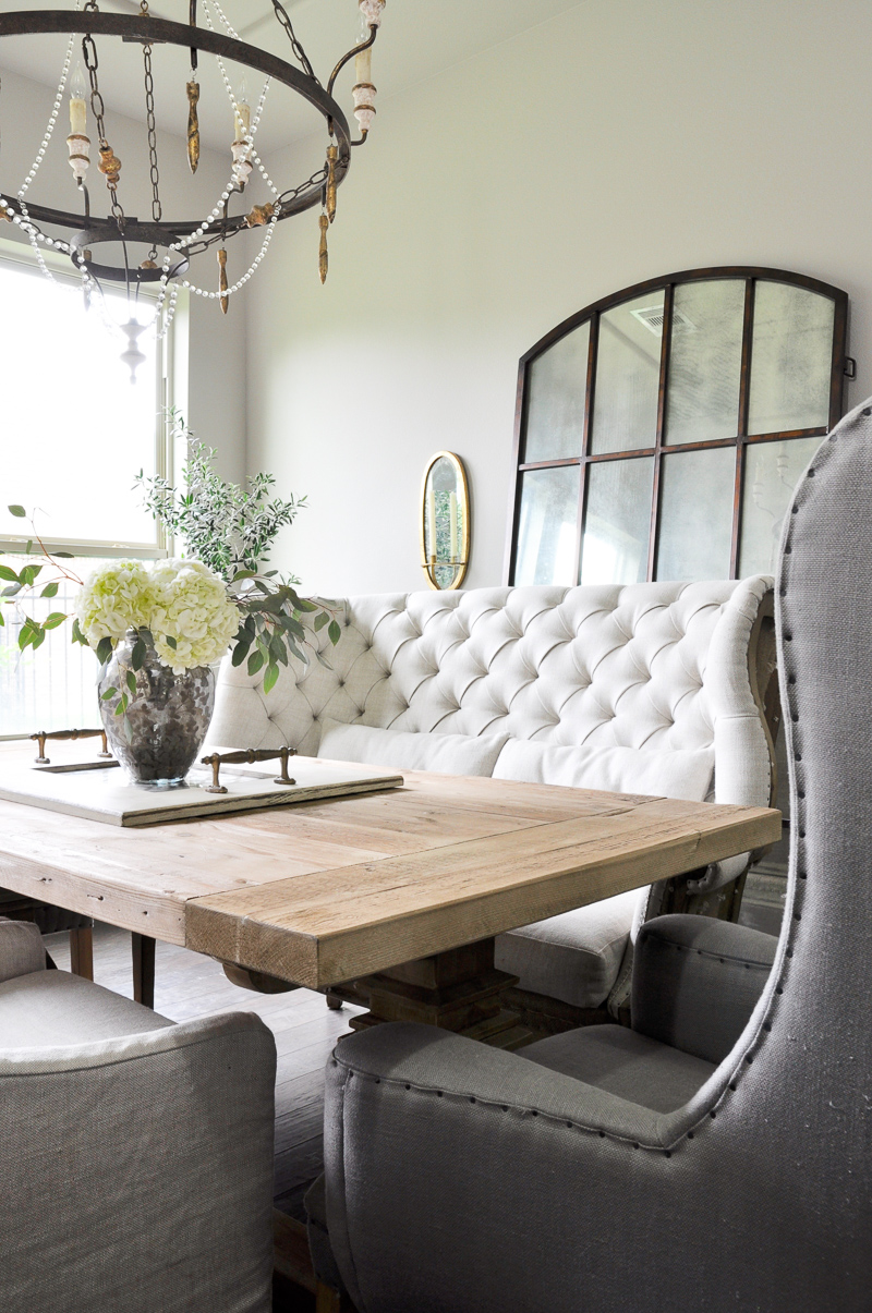 Dining Room Tour Tufted Settee and Farm Table