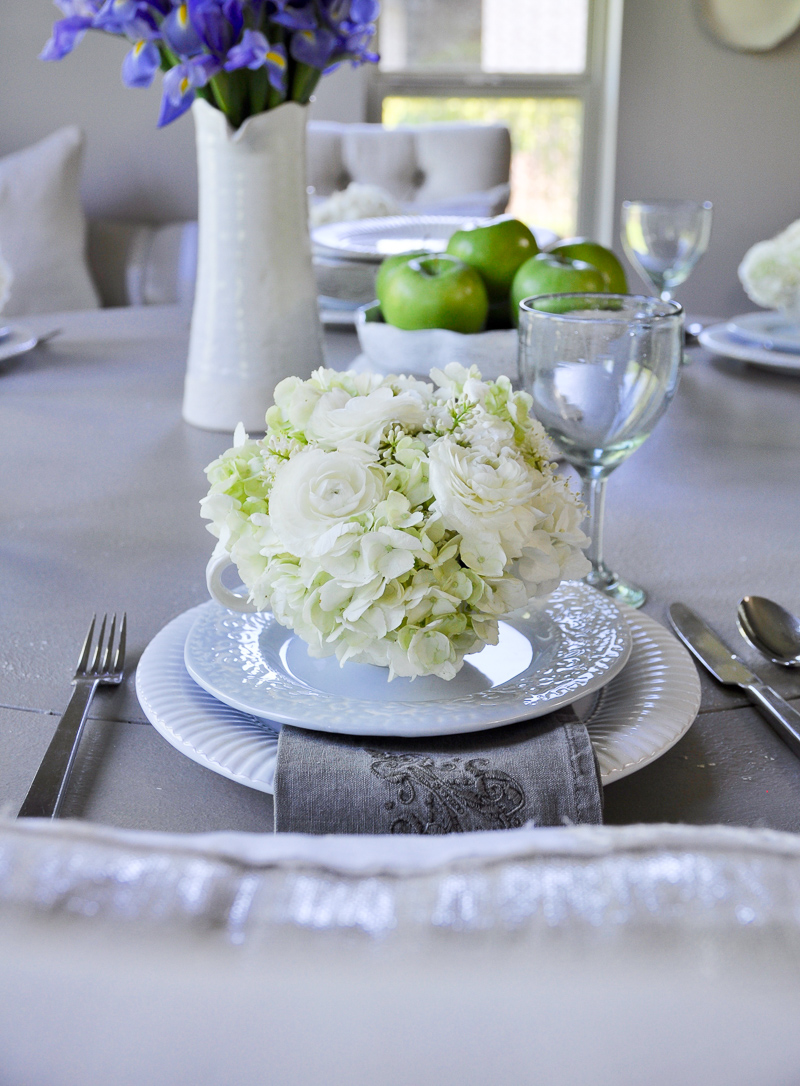 teacups filled with white flowers for shower luncheon wedding-2