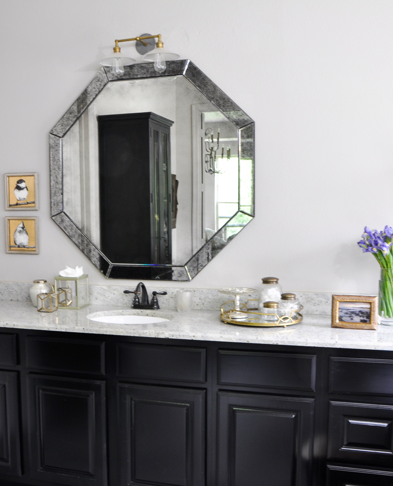 Bathroom with Black Cabinets and Stylish Accesories