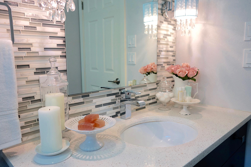Cake Stand for Soaps in Beautiful Bathroom by Too Chic for Words