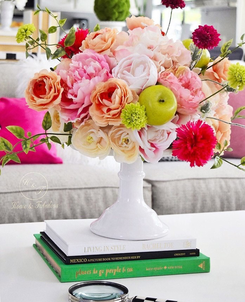 Cake Stand on Coffee Table a Gorgeous Floral Arrangement by Home and Fabulous