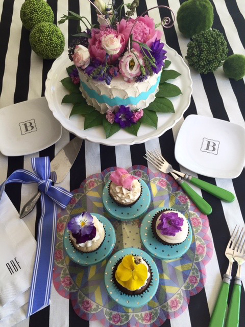 Cake Stand with Cake and Cupcakes Decorated with Beautiful Flowers_