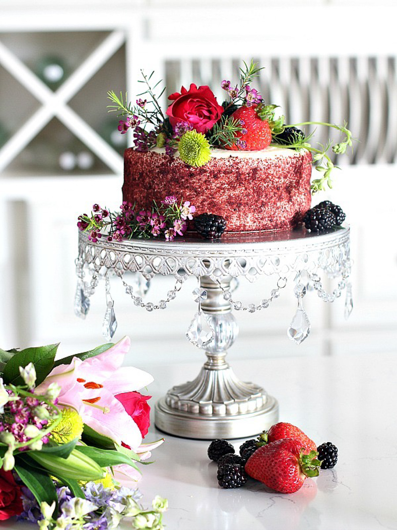 Cake Stand with Crystals Flowers and Fruit by The House of Silver Lining